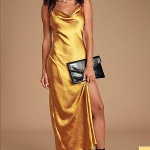 Winning Look Gold Satin Cowl Neck Maxi Slip Dress